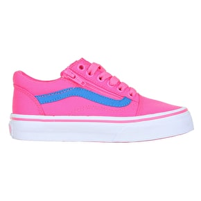 Vans Old Skool Skate Shoes - (Neon Canvas) Pink/Blue
