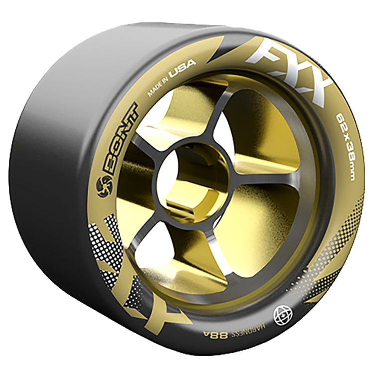 Bont Fxx Hub 62mm Roller Derby Wheels - Black / Gold 96a (8pk)