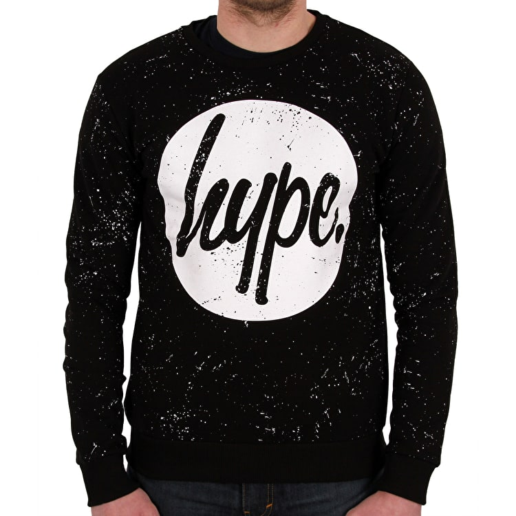 Hype Speckle Circle Crew Neck- Black/White