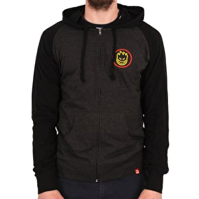 Spitfire Classic Swirl Fade Zip Hoodie - Charcoal Heather/Black