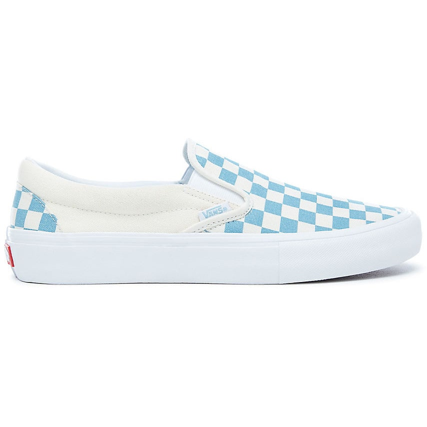 Vans Slip-On Pro Skate Shoes - (Checkerboard) Adriatic Blue White  bac0b120d