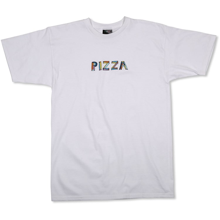 Pizza Skateboards Stained Glass T shirt - White