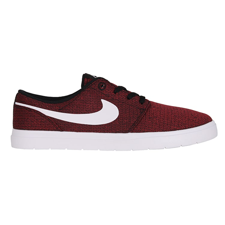 Nike SB Portmore II Ultralight Kids Skate Shoes - Black/White/Team Red