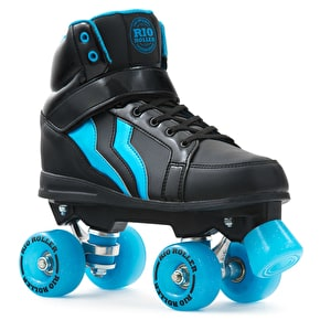 B-Stock Rio Roller Kicks Style Quad Roller Skates - Black/Blue (Size - UK 12) (Box Damage)