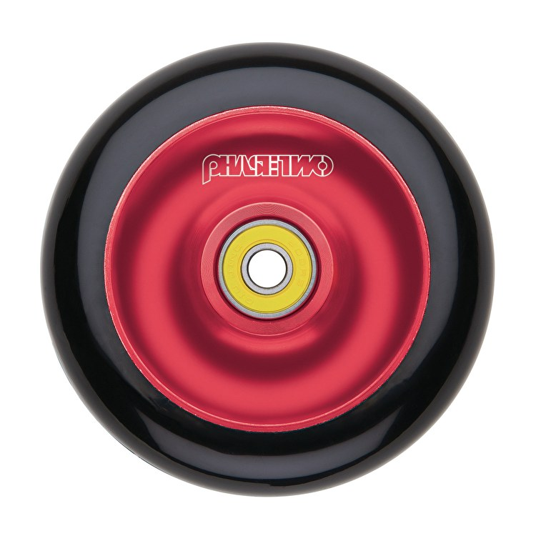 Phase Two 110mm Alloy Solid Scooter Wheel - Black/Red