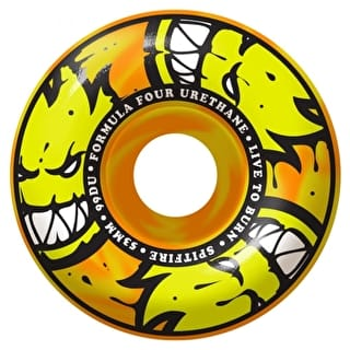 Spitfire Formula Four Afterburners Classics 99D Skateboard Wheels - Orange/Yellow Swirl 52mm