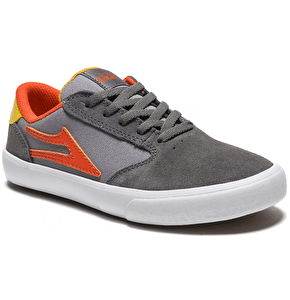 Lakai Pico Kids Skate Shoes - Grey/Orange Suede