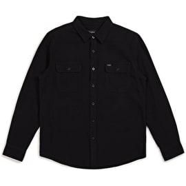 Brixton Bowery Solid Long Sleeve Flannel Shirt - Black