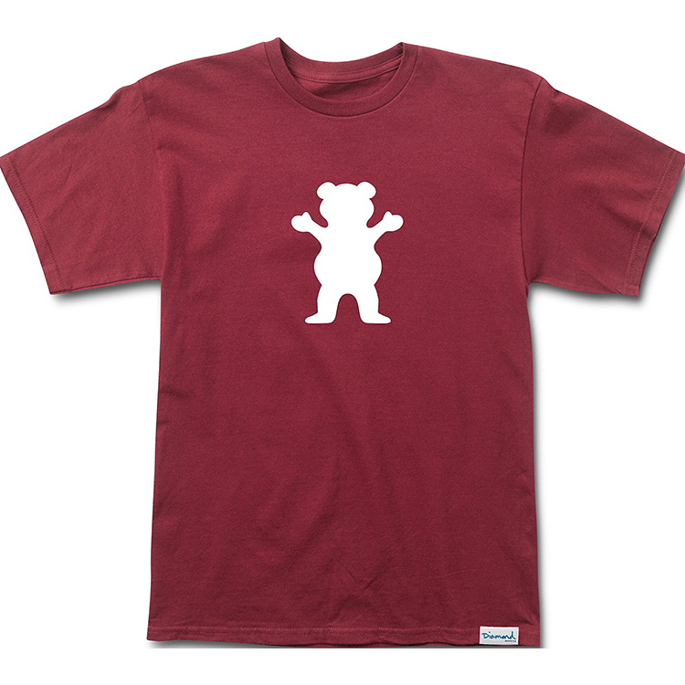 Grizzly OG Bear Logo Basic T-Shirt - Burgundy