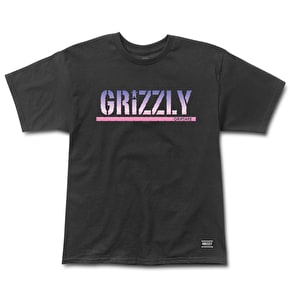 Grizzly Sunset Woods Stamp T-Shirt - Black