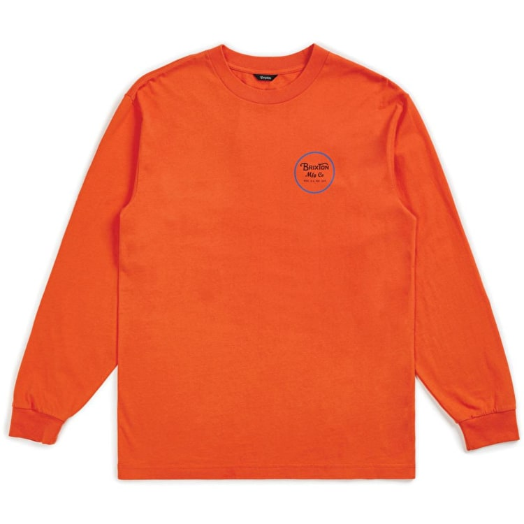 Brixton Wheeler II Long Sleeve T Shirt - Orange