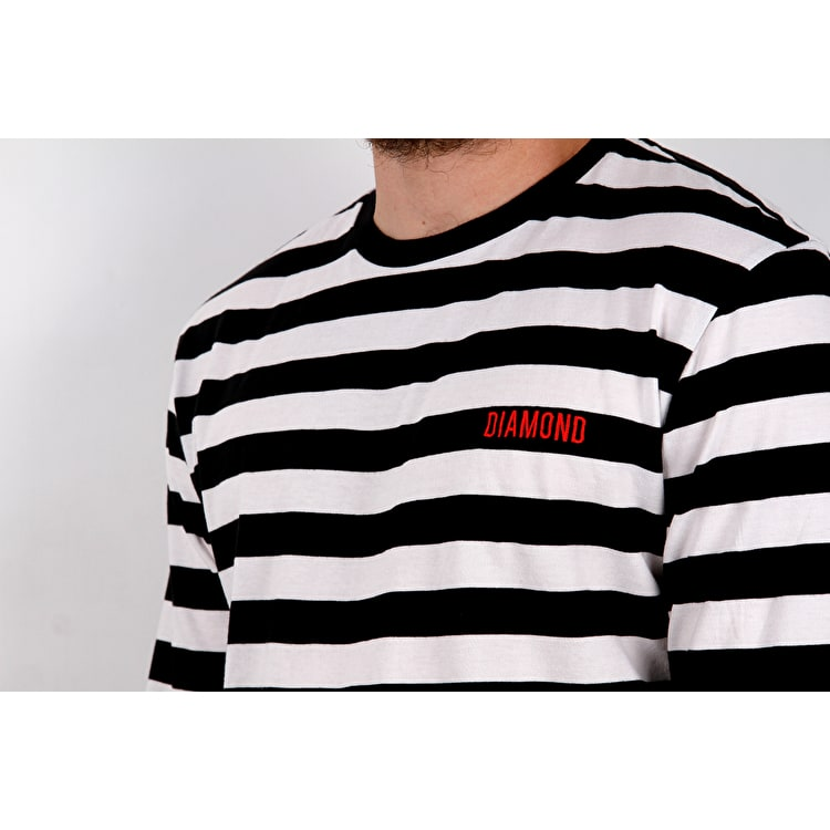 Diamond Supply Co Diamond Striped Long Sleeve T Shirt - Black/White