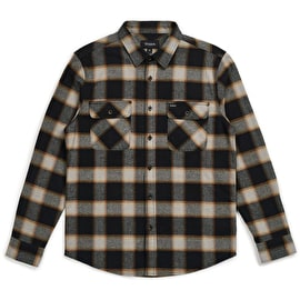 Brixton Bowery Long Sleeve Flannel Shirt - Black Cream