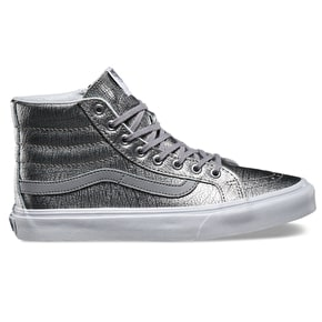 Vans Sk8-Hi Slim Shoes - (Foil Metallic) Silver/White