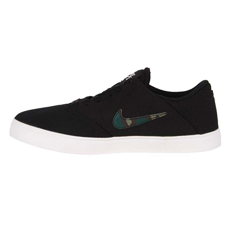 Nike SB Kids Check Canvas Skate Shoes - Black/Medium Olive/Pro Green