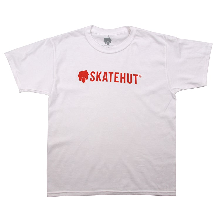 SkateHut Script Logo Kids T-Shirt - White/Red