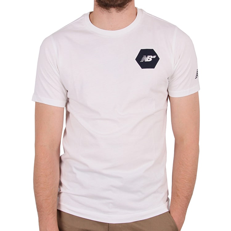New Balance Hex T-Shirt - White/Navy