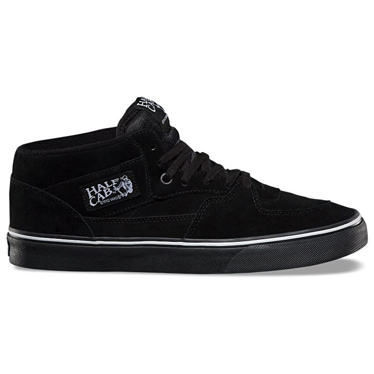 Vans Half Cab Skate Shoes - (Suede) Black/White