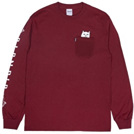 RIPNDIP Lord Nermal Long Sleeve T Shirt - Burgundy