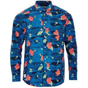 WeSC Concrete Flower Longsleeve Shirt - Deep Water