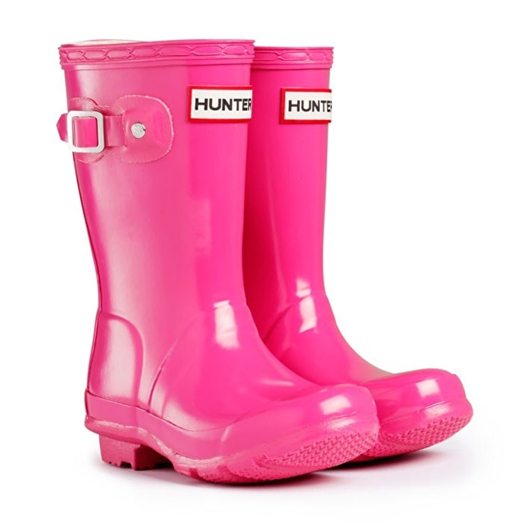Hunter Kids Original Gloss Wellington Boots Fuchsia