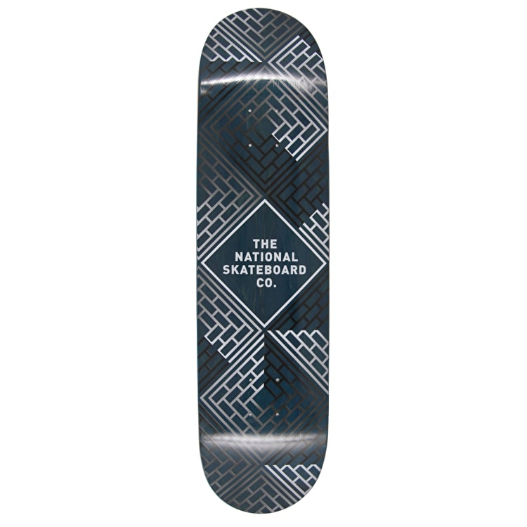 National Skateboard Co Classic Skateboard Deck - Black Wash/Blue Stain - 8.175""