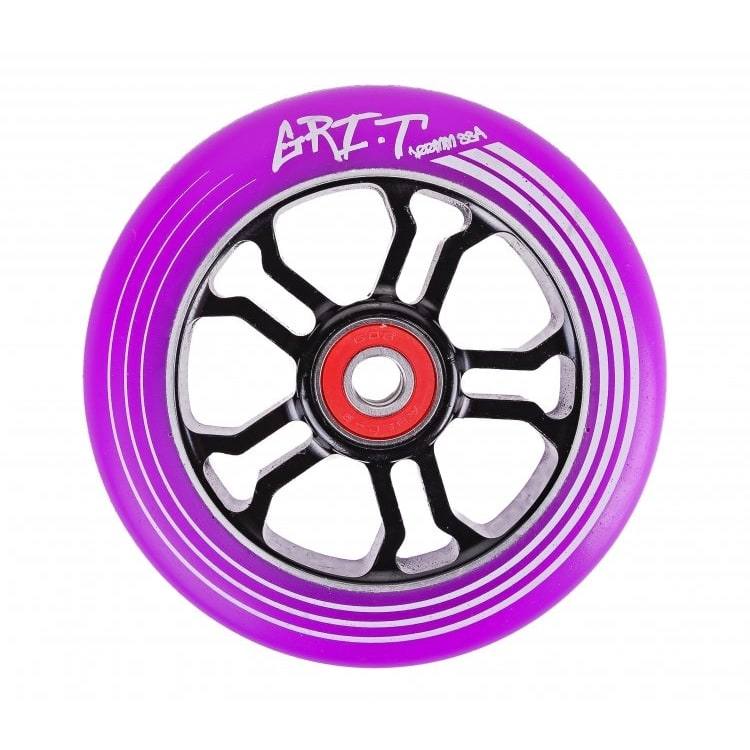 Grit Ultra Light 100mm Scooter Wheel x 1 w/ABEC 9 Bearings - Black/Purple