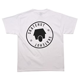 SkateHut Round Logo Kids T-Shirt - White/Black