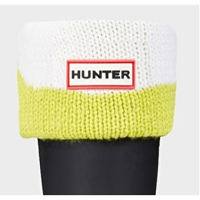 Hunter Kids Moustache Boot Socks - Yellow / White