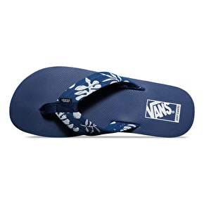 Vans 204 Print Flip Flops - (Aloha) Estate Blue/True White