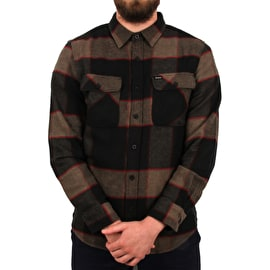 Brixton Bowery Long Sleeve Flannel Shirt - Heather Grey/Charcoal