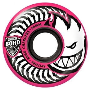 Spitfire Charger Conicals 80HD Skateboard Wheels - Pink/White 56mm