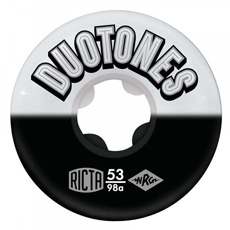 Ricta Duo Tones 98a Skateboard Wheels - White/Black 53mm (Pack of 4)