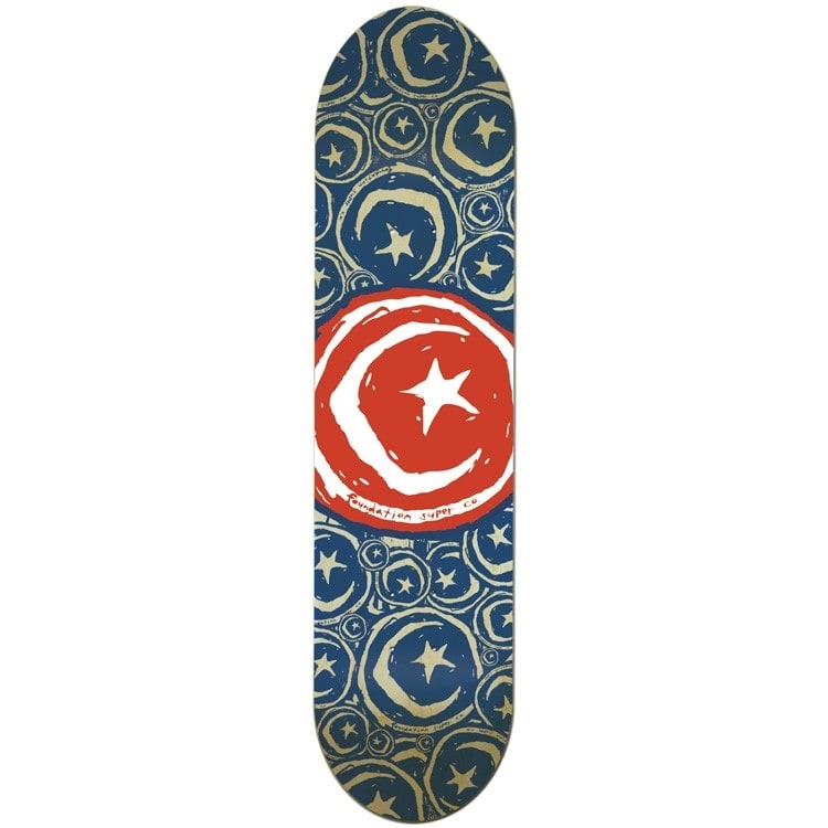 Foundation Star & Moon Stickered Red Team Skateboard Deck - 8.75""