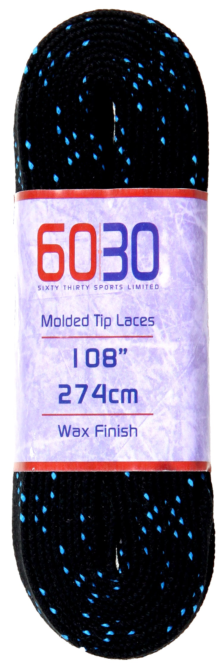 Image of 6030 Waxed Skate Laces Black/Blue