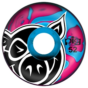 Pig Swirls Skateboard Wheels - Pink/Blue 52mm (Pack of 4)