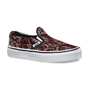 Vans Classic Slip-On Kids Shoes - (Flames) Black
