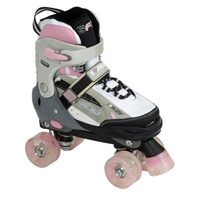 SFR Typhoon Adjustable Girls Quad Roller Skates - Black/Pink