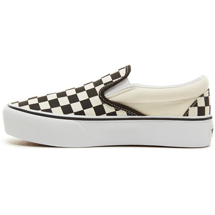 Vans Classic Slip-On Platform Skate Shoes - Black/White (Checkerboard)