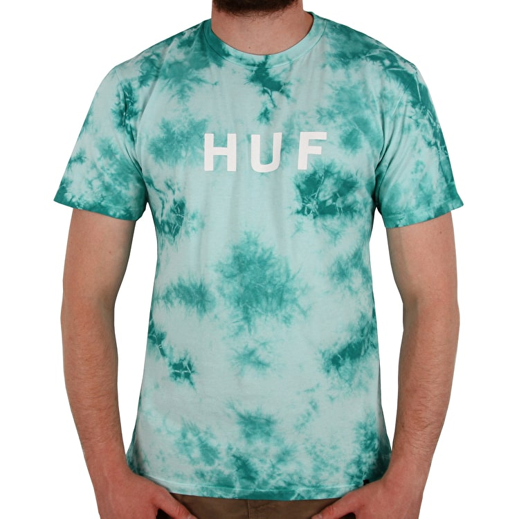 Huf OG Logo Crystal Wash T Shirt - Bright Aqua
