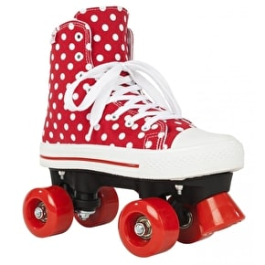 Rookie Quad Roller Skates - Canvas High Polka Dot Red/White