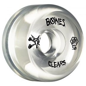 Bones Skateboard Wheels - SPF Clears Natural 58mm (Pack of 4)