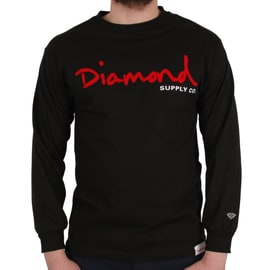 Diamond Supply Co OG Script Long Sleeve T shirt - Black