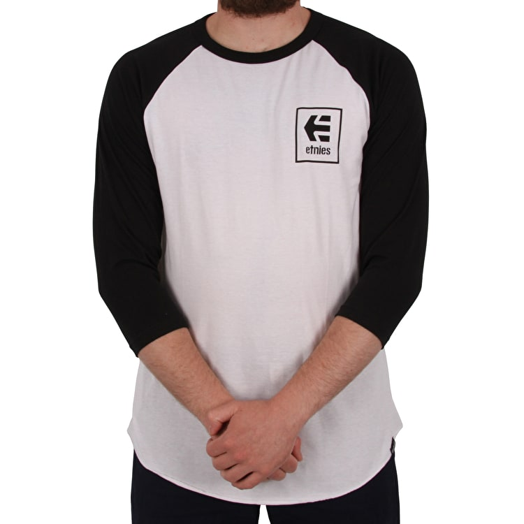 Etnies Stack Box Raglan T shirt - Black/White