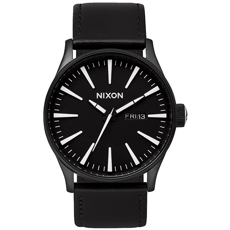 Nixon Sentry Leather Watch - Black/White