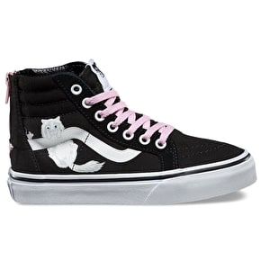 Vans Sk8-Hi Zip Kids Shoes - (Hidden Kittens) Black/True White