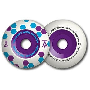 The Agency Tufcore 78D/95a Skateboard Wheels - Blue/Purple 54mm (Pack of 4)