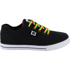 DC Bristol Canvas Youth Skate Shoes - Black/Rasta