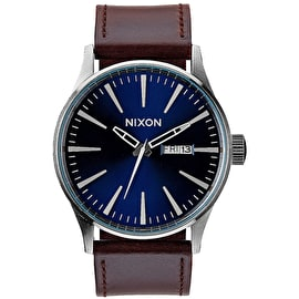 Nixon Sentry Leather Watch - Blue/Brown
