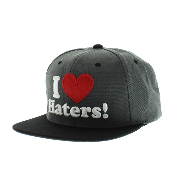 DGK Haters SnapBack Cap Charcoal Black Red Heart